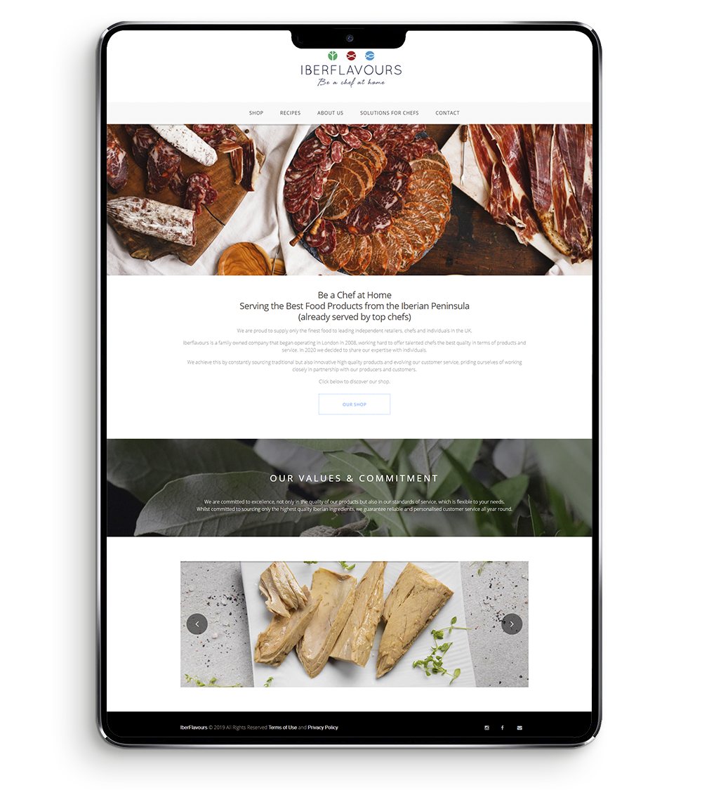 Digital Agency Brand Website Case Study - Iberflavours - home page